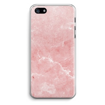 iphone-5-5s-se-transparante-cover - Roze marmer