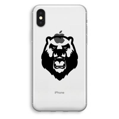 iphone-xs-transparant-hoesje - Angry Bear (black)