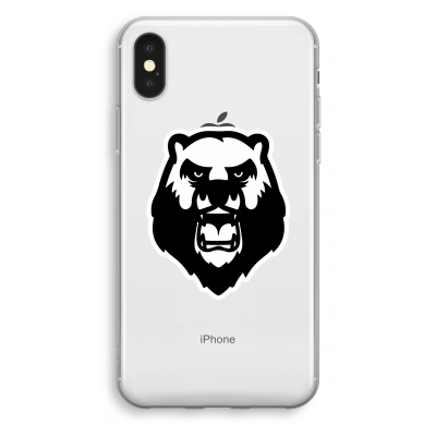 iphone-xs-transparant-hoesje - Angry Bear (white)