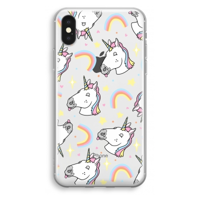 iphone-xs-transparant-hoesje - Rainbow Unicorn