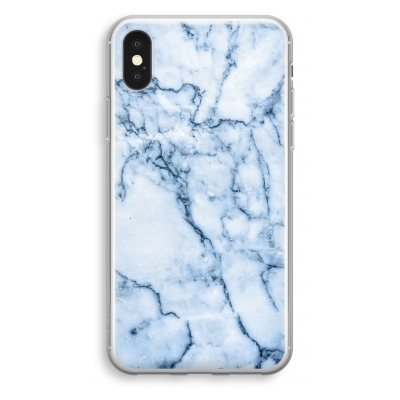 iphone-xs-transparant-hoesje - Blauw marmer