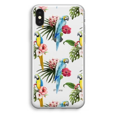 coque-transparente-iphone-xs - Perroquets colorés