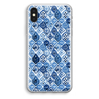 iphone-xs-transparant-hoesje - Blauw motief