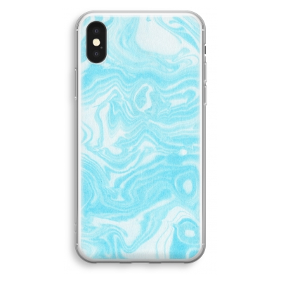 iphone-xs-transparant-hoesje - Waterverf blauw