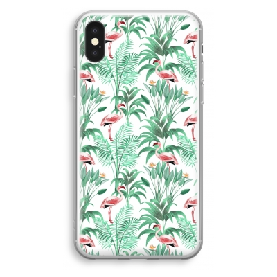 iphone-xs-transparant-hoesje - Flamingo bladeren