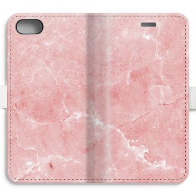 iphone-7-volledig-geprint-flip-hoesje - Roze marmer