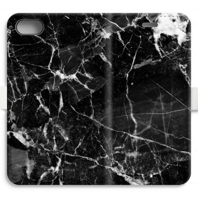 iphone-7-volledig-geprint-flip-hoesje - Zwart Marmer 2