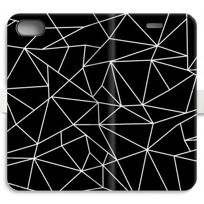 iphone-7-volledig-geprint-flip-hoesje - Geometrische lijnen wit