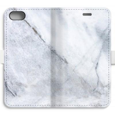 iphone-7-volledig-geprint-flip-hoesje - Witte marmer