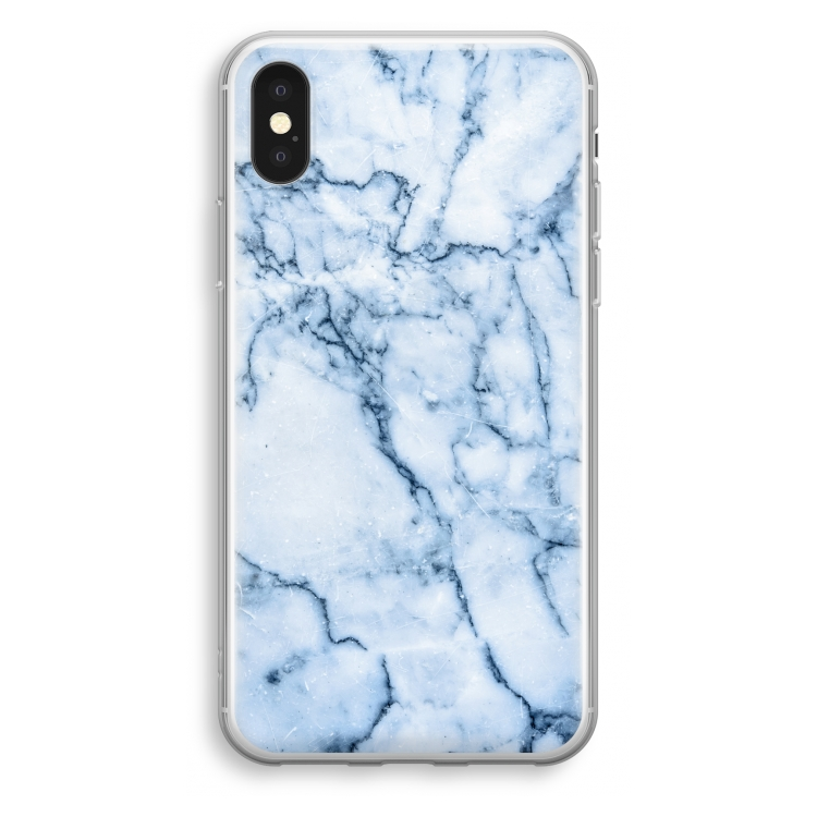 Blå marmor. iPhone XS Transparent Fodral (Hårt ... 48c72de6c63bc